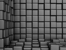 Spazio nero, cubico, d'angolo Fondo moderno del quadro televisivo Fotografia Stock Libera da Diritti