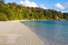 Spiaggia di sabbia bianca con la giungla Fotografia Stock Libera da Diritti