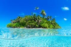 Split shot of tropical island Royalty Free Stock Photo