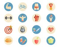 Sport and nutrition icons Royalty Free Stock Photos
