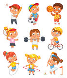 Sports and fitness. Funny cartoon character Stock Photos