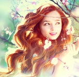 Spring beauty girl outdoors Stock Photography