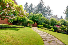Spring garden and pathway near home. American Northwest. Stock Image