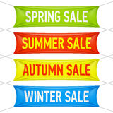 Spring, summer, autumn, winter sale banners Royalty Free Stock Photos