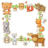 Square Frame with Forest Animals Stock Photo