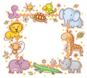 Square Frame with Wild Animals Stock Photography