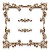 Square gold jewelry frame Stock Images