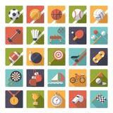 Square sports icons flat design vector set. Stock Photos