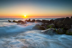 St. Augustine Florida Ocean Beach Sunrise With Crashing Waves Stock Image