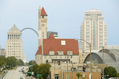 St. Louis skyline down Market Street with view of Gateway Arch and Union Station, Missouri Stock Image