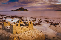 St Michaels Mount sand sculpture Stock Photo