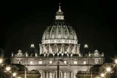 St. Peters Dome Basilica in Rome, Italy. Papal seat. Vatican City. Stock Image