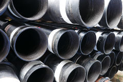 Stack of flush joint connection oil well casing Royalty Free Stock Photography