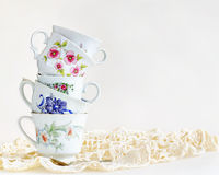 Stack of vintage tea cups Royalty Free Stock Photos