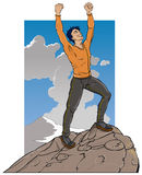 Standing on Mountain Top Royalty Free Stock Photos