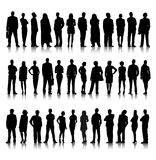 Standing Silhouette Of Crowd Of Business People Stock Photography