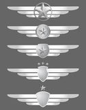 Star shield and wings emblems Stock Image
