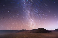 Stellar sky over Bromo volcano, Indonesia Stock Images