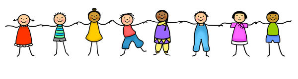 Stick figure kids holding hands Royalty Free Stock Image