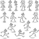 Stickman stick figure standing walking running Royalty Free Stock Image