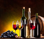 Still life with wine bottles Stock Image