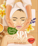 Stock vector illustration beautiful woman taking facial massage treatment in the spa salon Stock Photography