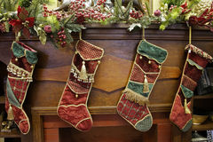 Stockings on a mantle Stock Photography
