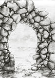 Stone arc sketch Stock Image