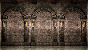 Stone wall with arches Stock Photography