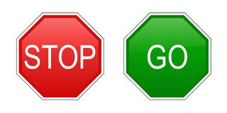 Stop and go signs Royalty Free Stock Photos