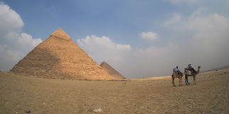 Stora Giza pyramider i Egypten med kamel, panoramautsikt Fotografering för Bildbyråer