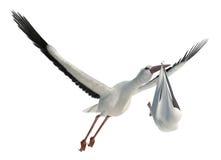 Stork & Baby Royalty Free Stock Photos