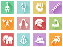Strength icons flat shadow style Stock Photo