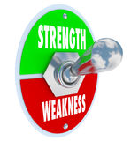 Strength Vs Weakness Switch Choose Strong Option Royalty Free Stock Image