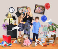 Stressed Mother with Wild Children in Messy House Royalty Free Stock Images