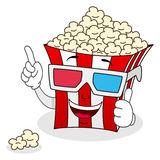 Striped Popcorn Bag with 3d Glasses Stock Image