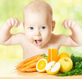 Strong baby, fresh fruit meal and juice glass Stock Photography