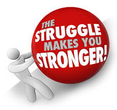 Struggle Makes You Stronger Man Pushing Ball Hard Work Strength Royalty Free Stock Images