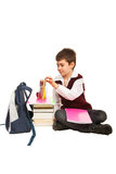 Student boy  prepare for homework Royalty Free Stock Images