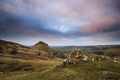 Stunning landscape of Chrome Hill and Parkhouse Hill in Peak Dis Royalty Free Stock Image
