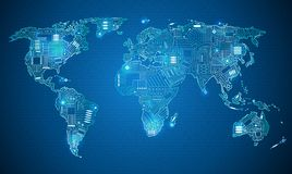 Style de technologie de carte du monde Photos libres de droits