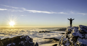 Succes in een majestueuze zonsopgang Royalty-vrije Stock Foto