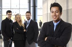 Successful asian businessman leading business team Royalty Free Stock Photos