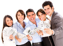 Successful business group with money Stock Photos