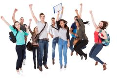 Successful university students over white background Stock Photography