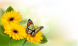 Summer background with yellow beautiful flowers and butterfly. Stock Photography