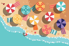 Summer beach in flat design, sea side and beach items Royalty Free Stock Images