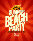 Summer beach party poster. Stock Photography