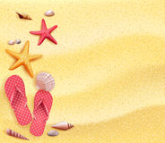 Summer Holidays Blank Background in the Yellow Beach Sand Royalty Free Stock Photo