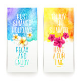 Summer holidays watercolor banners Stock Photo